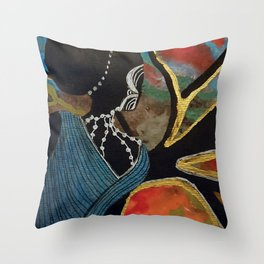 Abstract Sillouette Lady Throw Pillow