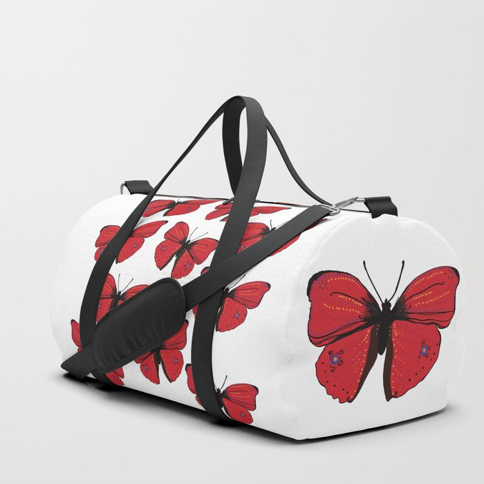 Red butterfly Spring Art Duffle Bag