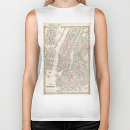 Vintage Map of NYC and Brooklyn (1865) Biker Tank