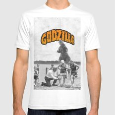 godzilla  MEDIUM White Mens Fitted Tee