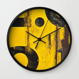 black numbers on yellow background Wall Clock