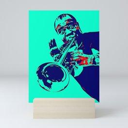 Teal Dreams Of Louis - Louie - Daniel Armstrong Satchmo - Satch - Pops - Pop Sketch-Art 443 Mini Art Print