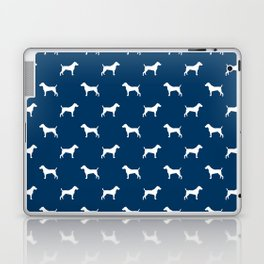 Jack Russell Terrier navy and white minimal dog pattern dog silhouette pattern Laptop & iPad Skin