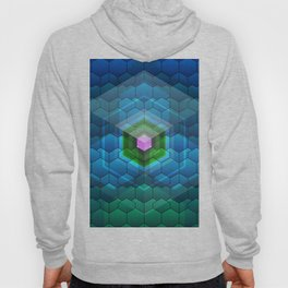 Contemporary abstract honeycomb, blue and green graphic grid with geometric shapes Hoody