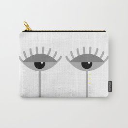 Unamused Eyes | Grey on White Carry-All Pouch