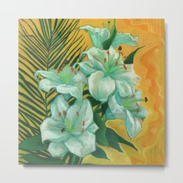 White Lilies and Palm Leaf Metal Print