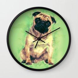 Cute Pug dog on gentle green Wall Clock