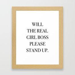Girl Boss Quote Black and White Framed Art Print
