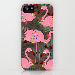 Flamingo With Flowers and Ornate Tropical Pattern iPhone Case