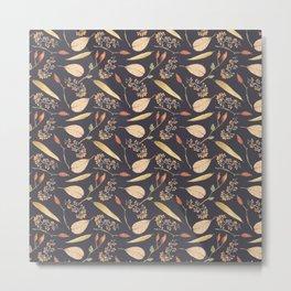 Brown orange yellow watercolor fall roses berries leaves Metal Print
