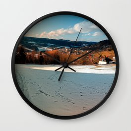 Winter wonderland and village skyline | landscape photography Wall Clock