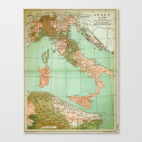 Italy in 1490 - Vintage Map Series Canvas Print