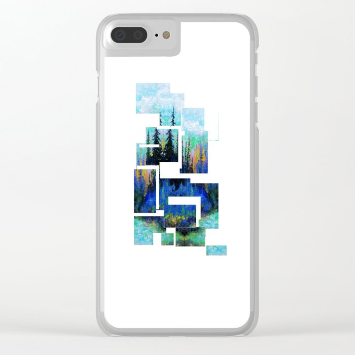 Blue Spruce Island Abstract Art Clear iPhone Case
