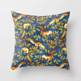 Oak Tree with Squirrels in Fall Throw Pillow