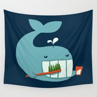 teeth Wall Tapestries featuring Brush Your Teeth by Picomodi