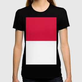 White and Crimson Red Horizontal Halves T-shirt