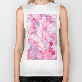 Pink white brushstrokes candy acrylic paint Biker Tank