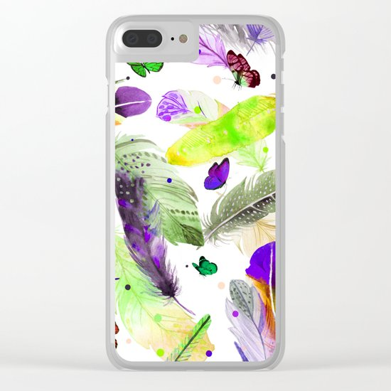 feathers and butterflies Clear iPhone Case