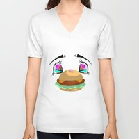 puppycat V-neck T-shirts featuring Can i have some? by Fantasma's Fantastic Artistry