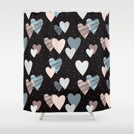 Cute Hearts Pattern Shower Curtain