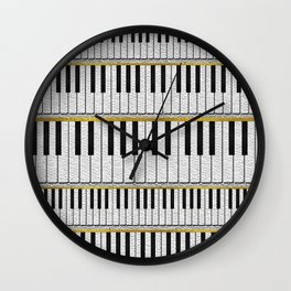 White Leather Piano Keys pattern with golden lines Wall Clock