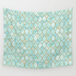 Luxury Aqua and Gold oriental pattern Wall Tapestry