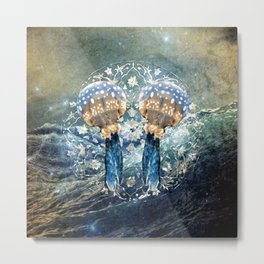 Ocean Jewels Mother Of Pearl And Jellyfish Metal Print