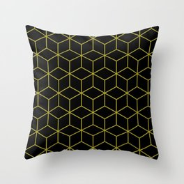 Cubes Pattern Gold and Black Throw Pillow