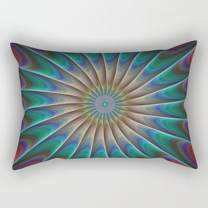 Peacock fractal Rectangular Pillow