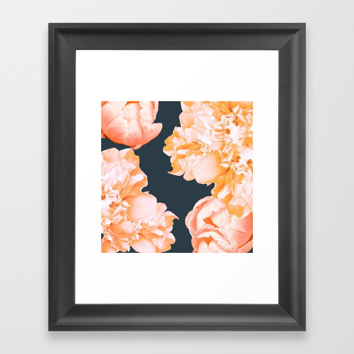 Peach Colored Flowers Dark Background Decor Society6 Art Framed Print