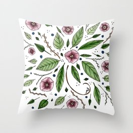 Hanging Among the Flowers & Leaves Throw Pillow