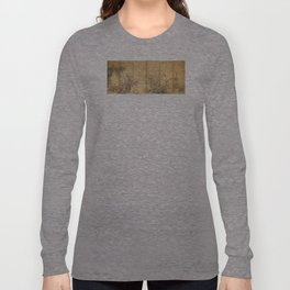 Japanese Edo Period Six-Panel Gold Leaf Screen - Spring and Autumn Flowers Long Sleeve T-shirt