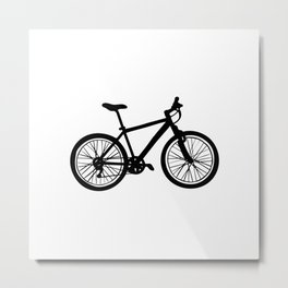 Simple hand drawn doodle of bicycle in black and white Metal Print