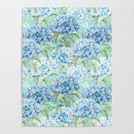 Blue floral hydrangea flower flowers Vintage watercolor pattern Poster