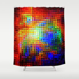 COLORFUL Pixels Shower Curtain