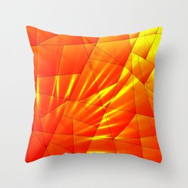 Bright sunshine on orange and yellow triangles of irregular shape. Throw Pillow