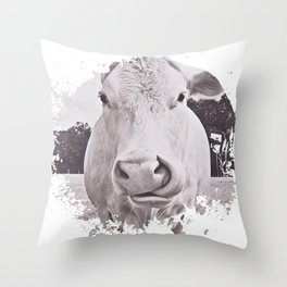 Vintage Bovine Throw Pillow