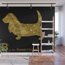 Basset Hound | Dog | gold foil Wall Mural
