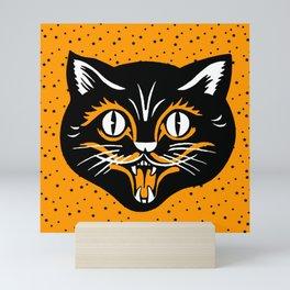Vintage Type Halloween Black Cat Face Stars Orange Mini Art Print