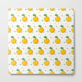 Pixel Oranges - White Metal Print