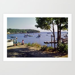 Marion Village in Rockport - Camden, Maine in the early 1960's, Retro Harbor Art Print