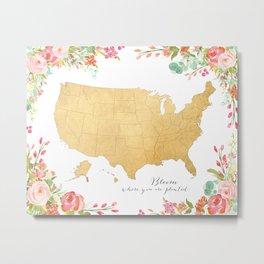 "Floral USA map ""bloom"" Metal Print"