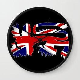 British Lion Silhouette On Union Jack Flag Wall Clock