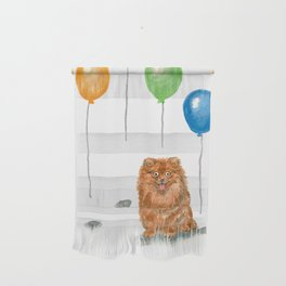 Pomeranian with balloons Wall Hanging