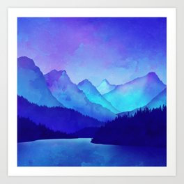 Cerulean Blue Mountains 1:1 Art Print