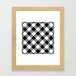 Gingham Plaid Black & White Framed Art Print