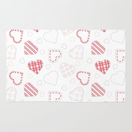 Red and White Hearts Pattern | Valentine's Day Theme Rug