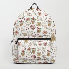 Watercolor seamless pattern with christmas sweets. Backpack