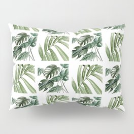 Greenery Squares Watercolor Painting Pillow Sham