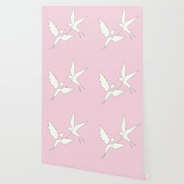 Two Swallows Line Art Wallpaper
